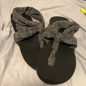 black and grey sandals